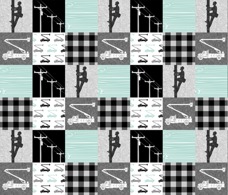 lineman patchwork - dark mint - plaid fabric by littlearrowdesign on Spoonflower - custom fabric