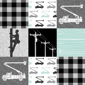 lineman patchwork - dark mint - plaid