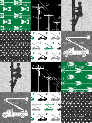 lineman patchwork - green - arrows