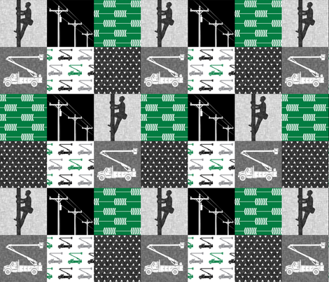 lineman patchwork - green - arrows fabric by littlearrowdesign on Spoonflower - custom fabric