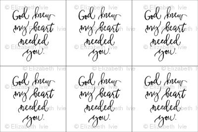6 loveys: God Knew My Heart Needed You