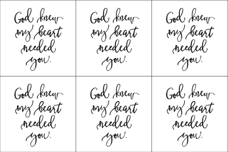 6 loveys: God Knew My Heart Needed You fabric by ivieclothco on Spoonflower - custom fabric