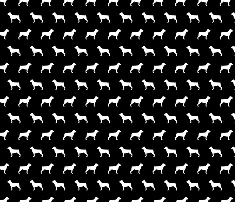 Rottweiler Silhouette on Black fabric by mariafaithgarcia on Spoonflower - custom fabric