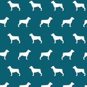 Rottweiler Silhouette on Teal