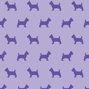 Yorkshire Terrier Silhouettes on Purple