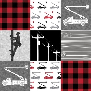 lineman patchwork - buffalo plaid