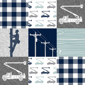 lineman patchwork - navy and dusty blue
