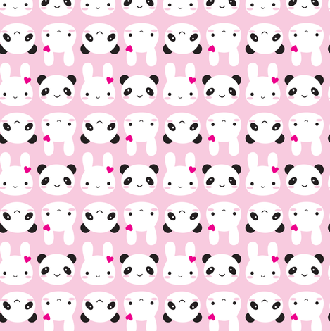 Super Cute Kawaii Bunny And Panda Pink Wallpaper Designed