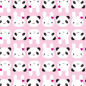 Super Cute Kawaii Bunny and Panda (Pink)