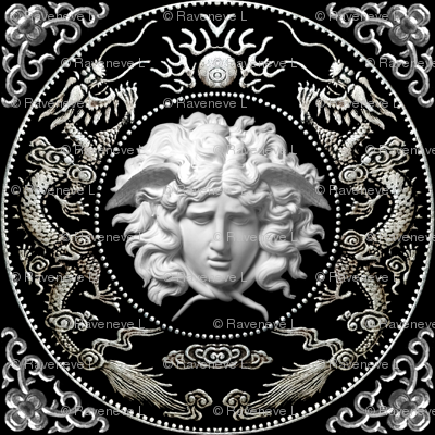 3 white silver medusa versace inspired  baroque rococo black gold flowers floral filigree clouds dragons sun fire flames pearl asian japanese china chinese gorgons Greek Greece mythology far east meets west fusion oriental chinoiserie