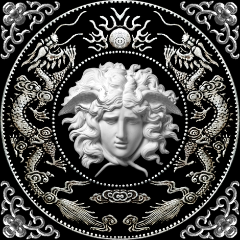3 white silver medusa versace inspired  baroque rococo black gold flowers floral filigree clouds dragons sun fire flames pearl asian japanese china chinese gorgons Greek Greece mythology far east meets west fusion oriental chinoiserie    fabric by raveneve on Spoonflower - custom fabric