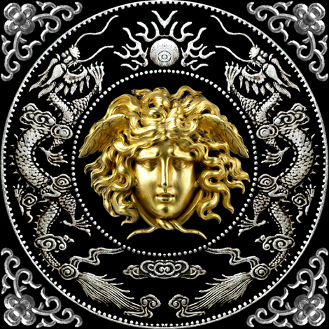 2 gold silver medusa versace inspired  baroque rococo black gold flowers floral filigree clouds dragons sun fire flames pearl asian japanese china chinese gorgons Greek Greece mythology far east meets west fusion oriental chinoiserie   fabric by raveneve on Spoonflower - custom fabric