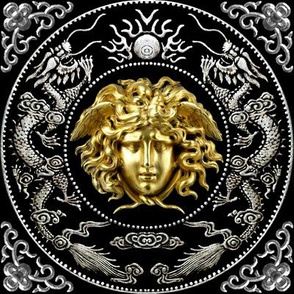 2 gold silver medusa versace inspired  baroque rococo black gold flowers floral filigree clouds dragons sun fire flames pearl asian japanese china chinese gorgons Greek Greece mythology far east meets west fusion oriental chinoiserie