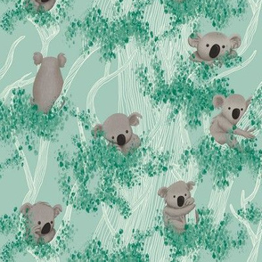 Koalas in Eucalyptus Trees on Mint background