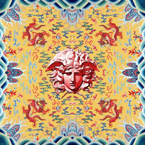 medusa versace inspired  baroque rococo bats clouds  dragons mythical creatures animals sun floral leaves flowers chinese japanese china sea ocean waves  water colorful flames fire infinity knot gorgons Greek Greece mythology far east meets west fusion or