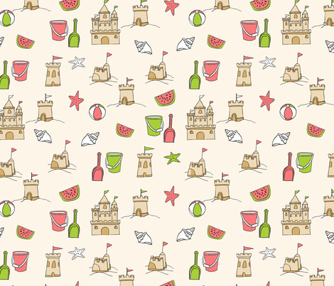 sandcastles // beach day summer fun fabric seaside sandcastle sand fabric by andrea_lauren on Spoonflower - custom fabric