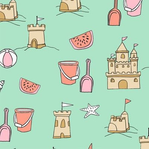 sandcastles // beach day summer fun fabric seaside sandcastle mint