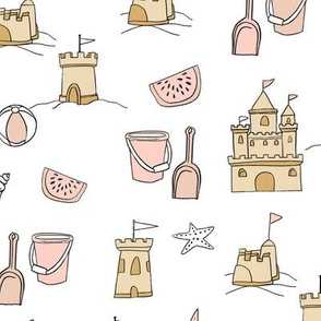 sandcastles // beach day summer fun fabric seaside sandcastle tan lite