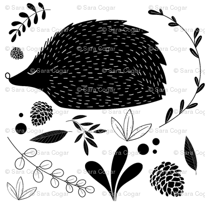 Black and White floral hedgehogs