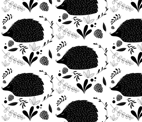 Black and White floral hedgehogs fabric by sarachristine55 on Spoonflower - custom fabric