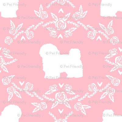 havanese floral silhouette florals dog breed pet fabric pink