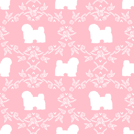 havanese floral silhouette florals dog breed pet fabric pink fabric by petfriendly on Spoonflower - custom fabric