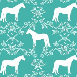 Horses floral silhouette florals farm animal pet fabric turquoise