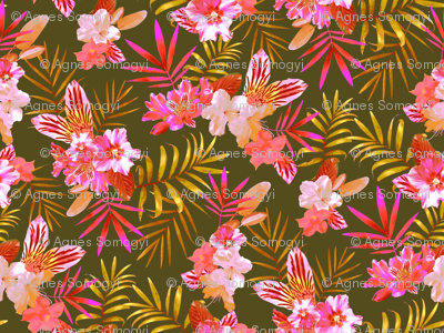 Tropical Flowers and Leaves Green