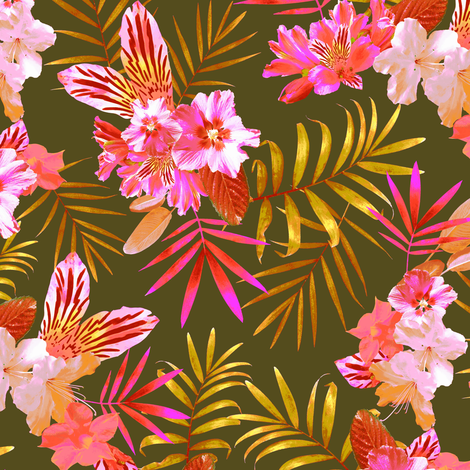 Tropical Flowers and Leaves Green fabric by agnessomogyi on Spoonflower - custom fabric