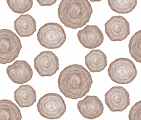 Large Brown Tree Rings fabric by landpenguin on Spoonflower - custom fabric