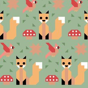 Fox, Cardinal, and Mushroom