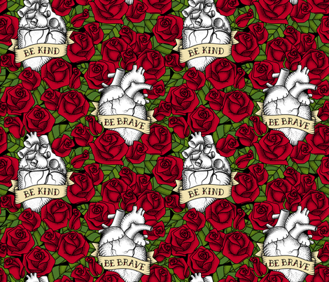 Heart and Roses_BBrave BKind fabric by mia_valdez on Spoonflower - custom fabric