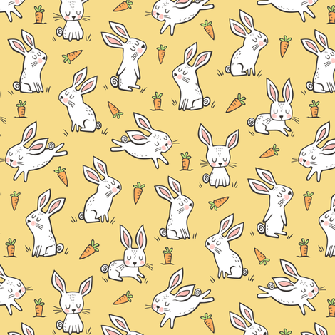Bunnies Rabbits & Carrots On Yellow Smaller 1,5 inch fabric by caja_design on Spoonflower - custom fabric