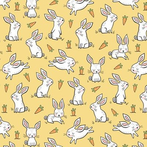 Bunnies Rabbits & Carrots On Yellow Smaller 1,5 inch