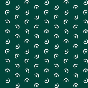 1900 Moon and stars-green