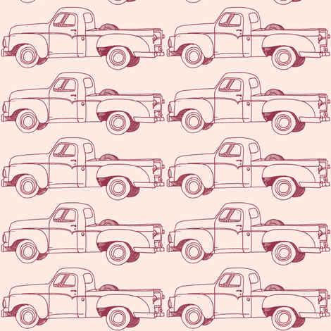 Nifty Fifties 1957 Studebaker Pick up Truck (on pink) fabric by edsel2084 on Spoonflower - custom fabric