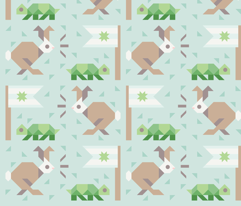 Tortoise and Hare fabric by vedaine on Spoonflower - custom fabric