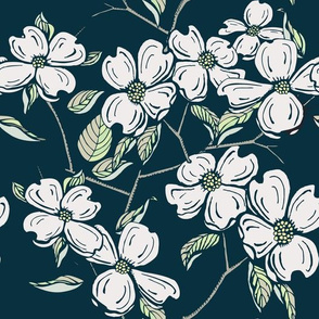 Dogwood floral in Blue Grey
