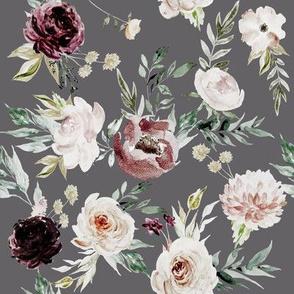 "8"" Velvet Cream Blooms // Fedora Gray"