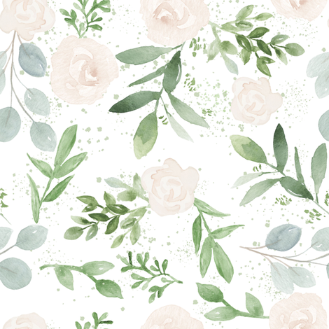 Rose And Eucalyptus Florals Wallpaper Hipkiddesigns