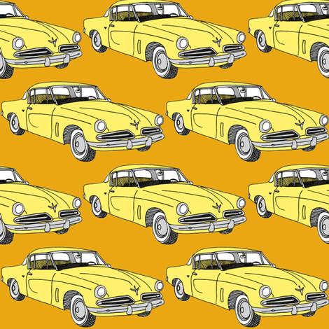 Nifty Fifties 1953 Studebaker coupe fabric by edsel2084 on Spoonflower - custom fabric