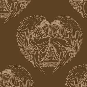 Vintage angel hearts brown