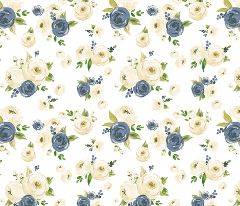Farmhouse Jean Florals fabric by hipkiddesigns on Spoonflower - custom fabric