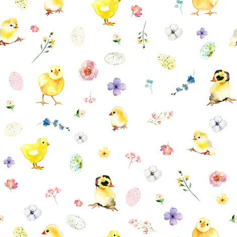 "8"" Easter Chicks - Pink fabric by shopcabin on Spoonflower - custom fabric"