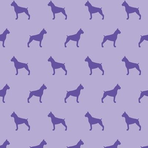 Boxer Dog Silhouettes Purple
