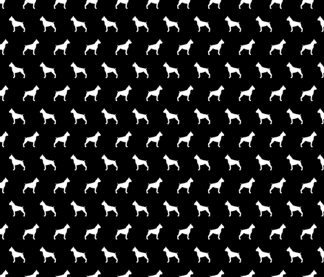 Boxer Silhouettes Black and white fabric by mariafaithgarcia on Spoonflower - custom fabric
