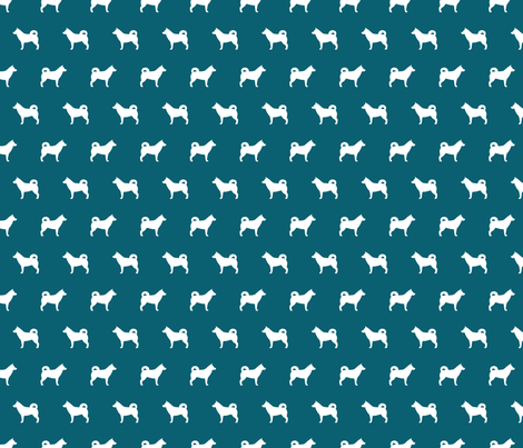 Husky Silhouette on Teal fabric by mariafaithgarcia on Spoonflower - custom fabric