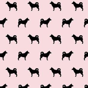 Husky Black Silhouette on Pink
