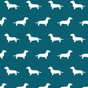 Dachshund Silhouettes on Teal