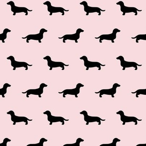 Dachshund Silhouettes on Pink